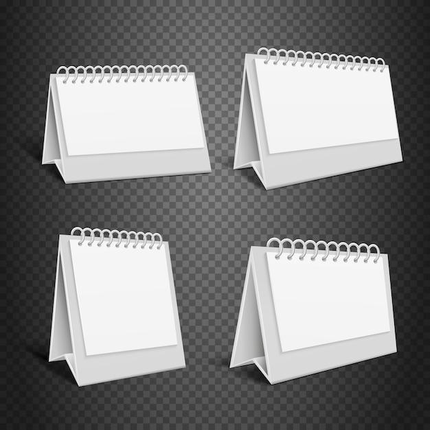 Leerer tischpapierkalender. leeren sie gefalteten umschlag mit frühlingsvektorillustration. mock-up kalender y Premium Vektoren