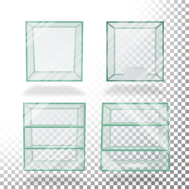 Leerer transparenter glaskasten-würfel Premium Vektoren