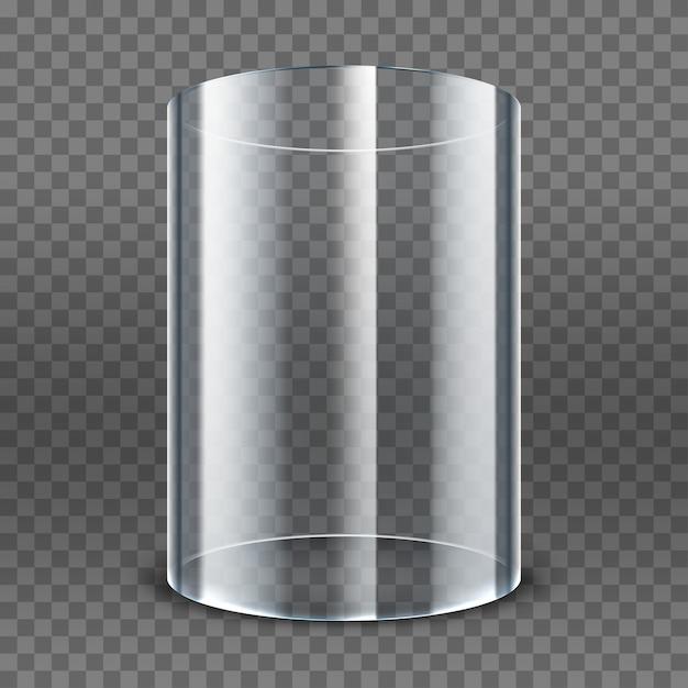 Leerer transparenter glaszylinder lokalisiert auf transparentem hintergrund. runde vitrine. transparente vitrine ausstellen Premium Vektoren