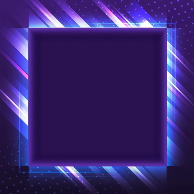 Leerer violetter quadratischer neonschildvektor Kostenlosen Vektoren