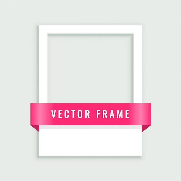 Leerer weißer bilderrahmen mit band Kostenlosen Vektoren