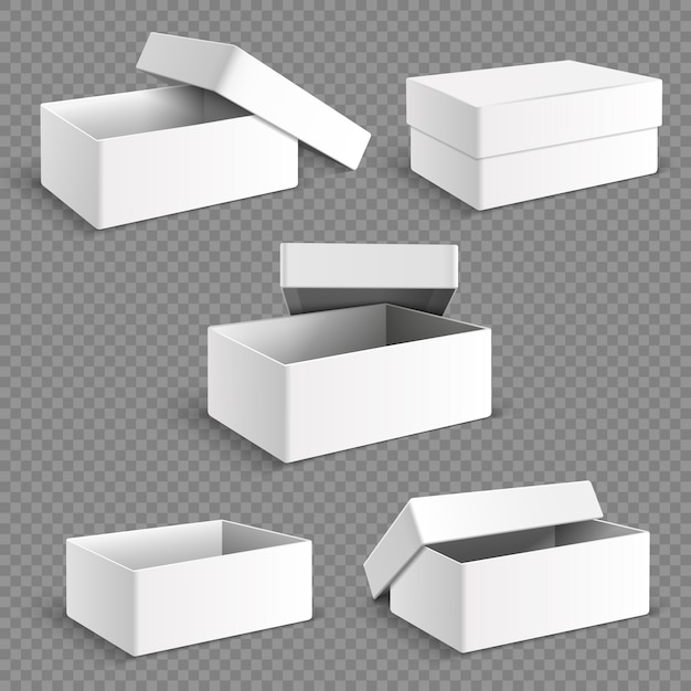 Leerer weißer verpackungspapierkasten mit transparenten weichen schatten lokalisierte satz. Premium Vektoren