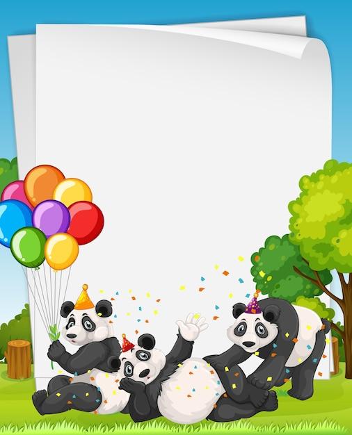 Leeres banner mit vielen panda im party-thema Kostenlosen Vektoren