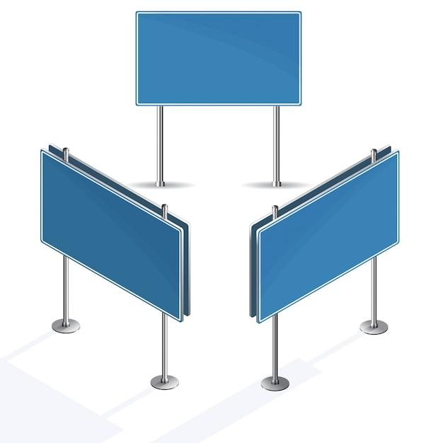 Leeres blaues verkehrsschild auf weißem hintergrund Premium Vektoren