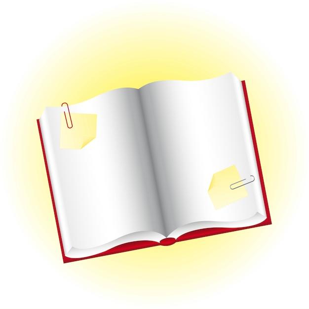 Leeres buch mit gelben papieren und clip-vektor-illustration Premium Vektoren