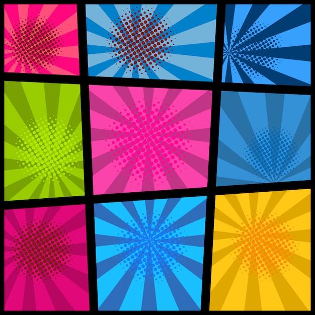 Leeres comic-seitenmodell mit farbigem hintergrund. element für plakat, karte, druck, banner, flyer. bild Premium Vektoren
