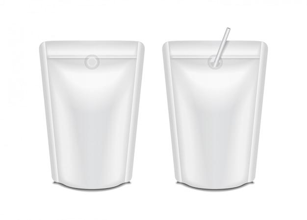 Leeres folienmilch- oder saftpackungsset. beutel sachet bag verpackung für branding Premium Vektoren