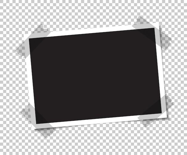 Leeres foto mit einem schatten wird mit klebeband verklebt. Premium Vektoren