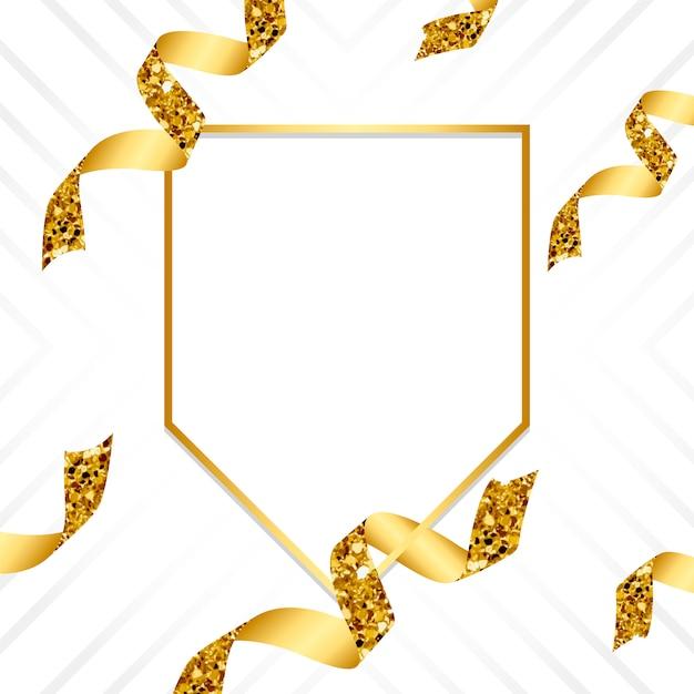 Leeres goldenes emblem mit konfetti Kostenlosen Vektoren