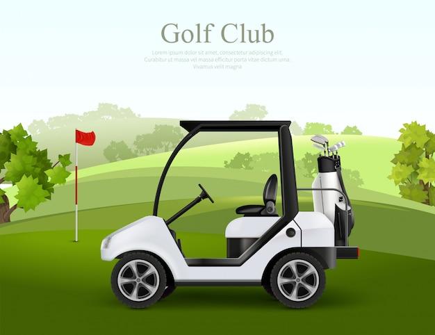 Leeres golfauto mit tasche der keulen auf realistischer vektorillustration des grünen feldes Kostenlosen Vektoren