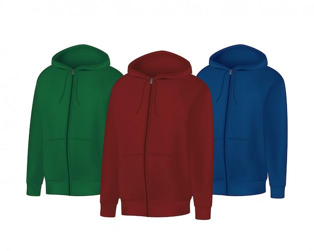 Leeres grünes, rotes, blaues herren-hoodie-sweatshirt mit langen ärmeln. männlicher kapuzenpulli mit kapuze vorderansicht. sportwinterkleidung lokalisiert auf weißem hintergrund Premium Vektoren