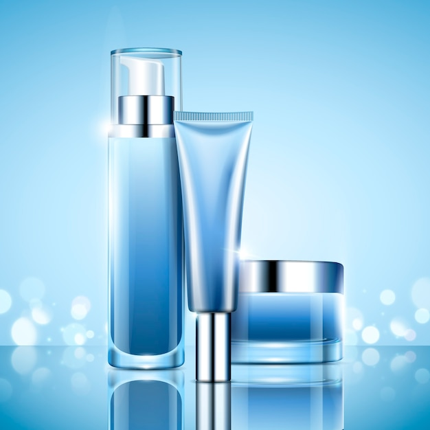 Leeres kosmetikbehälter-set, hellblaue serienflasche und glas zur verwendung in der illustration, bokeh-hintergrund Premium Vektoren