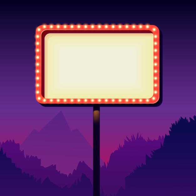 Leeres schild der weinlese mit lichtern. schild am straßenrand. verkehrsschild aus den 50er jahren. rote plakatwand mit lampen Premium Vektoren