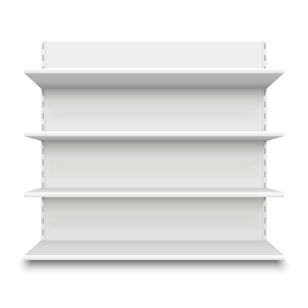 Leeres supermarktregal. weiße leere regale des einzelhandelsgeschäfts für waren, mallanzeigenmodell Premium Vektoren