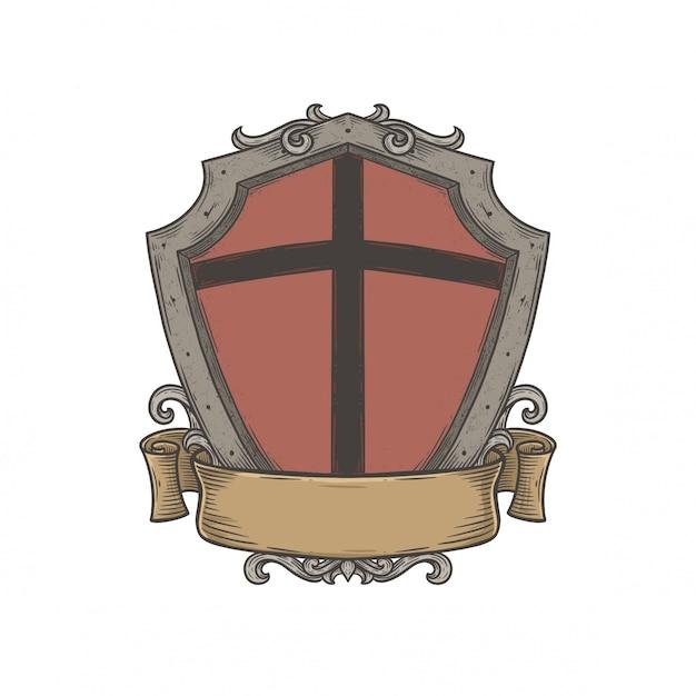 Leeres wappenschild-emblem Premium Vektoren