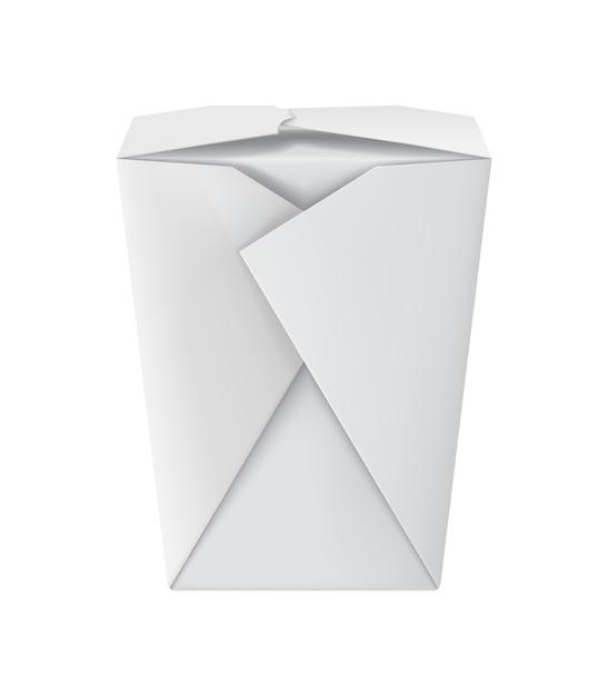 Leeres weißes vorbildliches nudelpaket der pappe 3d Premium Vektoren