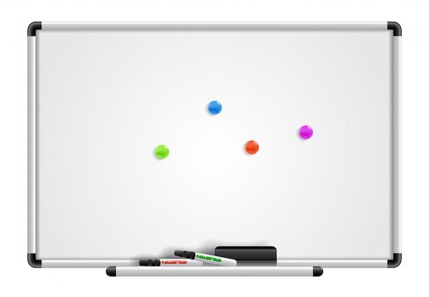 Leeres whiteboard, marker und magnete. für banner, plakate, prospekte und broschüren. Kostenlosen Vektoren