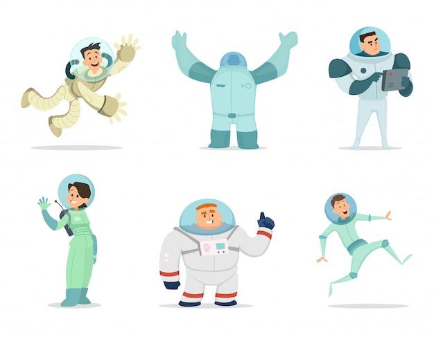 Leerzeichen. maskottchen von astronauten im cartoon-stil Premium Vektoren