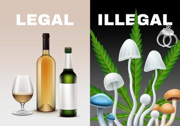 Legale und illegale drogenillustration. alkoholpilze, marihuana Premium Vektoren
