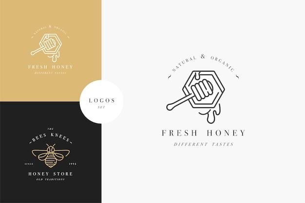 Legen sie abbildungslogos und designvorlagen oder -abzeichen fest. bio- und öko-honigetiketten und etiketten mit bienen. linearer stil und goldene farbe. Premium Vektoren