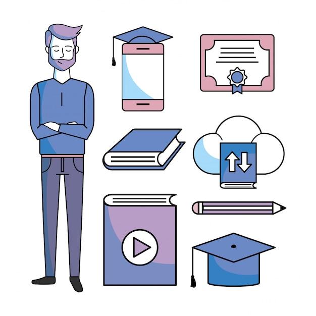 Legen sie den studienmann mit dem online-zertifikat der ausbildung fest Premium Vektoren