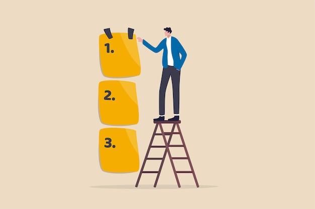 Legen sie die arbeitspriorität fest und vereinbaren sie eine liste der aufgaben, die vorher und nachher ausgeführt werden sollen Premium Vektoren