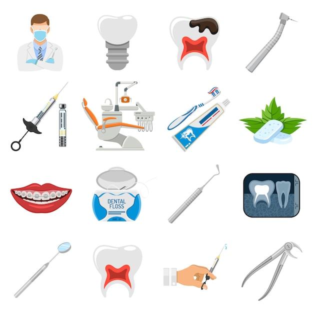 Legen sie die symbole für zahnärztliche dienste fest Premium Vektoren