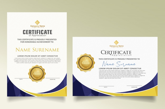 Legen sie die zertifikatvorlage mit dynamischen und futuristischen polygonalen formen fest Premium Vektoren