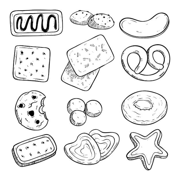 Legen sie verschiedene kekse mit handgezeichneten oder skizzierten stil Premium Vektoren
