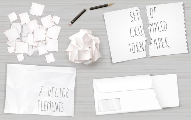 Legen sie zerknitterte papierblätter ein Premium Vektoren