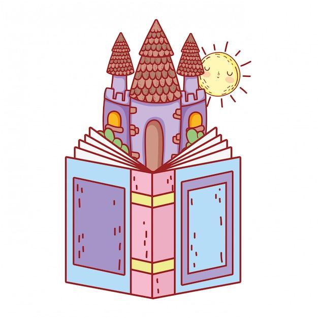 Lehrbuch mit schlosstagesfeier Premium Vektoren