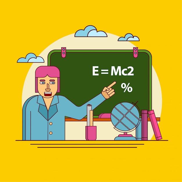 Lehrer, der auf der tafel, zurück zu schule anzeigt Premium Vektoren