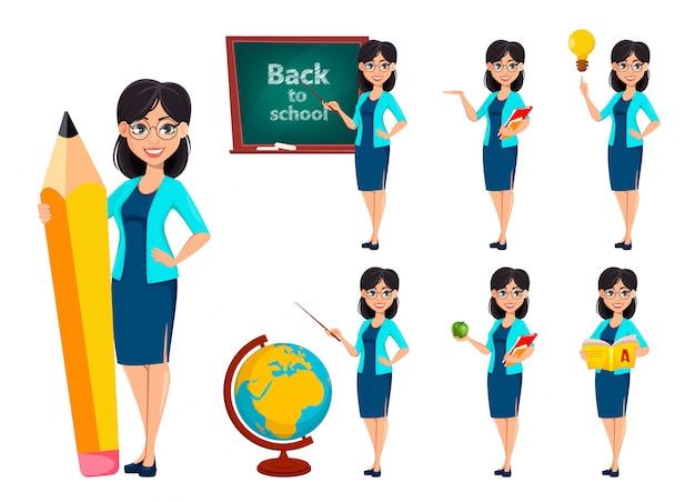 Lehrer frau zeichentrickfigur Premium Vektoren