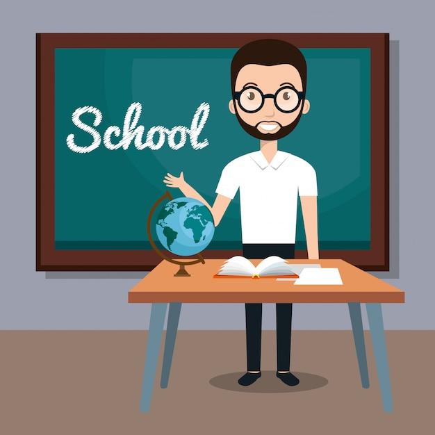 Lehrer im klassenzimmer Kostenlosen Vektoren