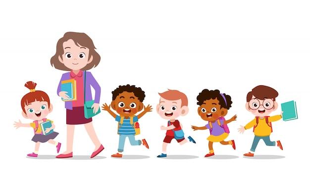 Lehrer mit kinderschule Premium Vektoren