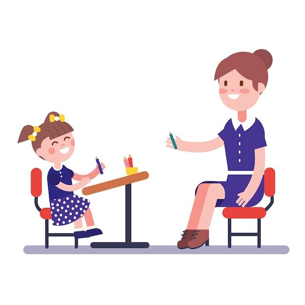 Lehrer oder hauslehrer, der mit ihrem mädchen schüler studiert Kostenlosen Vektoren
