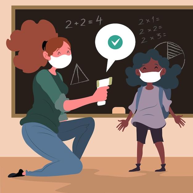 Lehrer prüft die temperatur der kinder Kostenlosen Vektoren