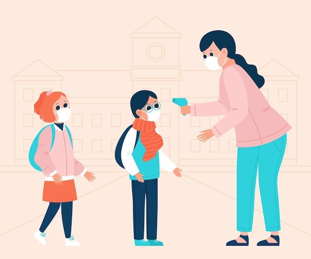 Lehrer prüft kindertemperatur Kostenlosen Vektoren