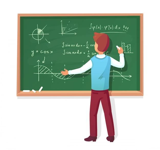 Lehrer schreiben an tafel Premium Vektoren