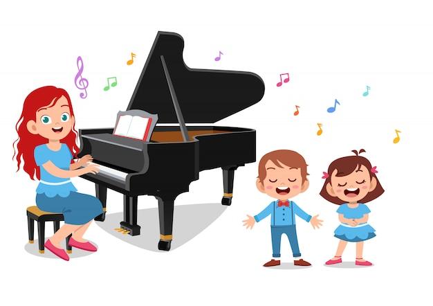 Lehrer spielen klaviere Premium Vektoren