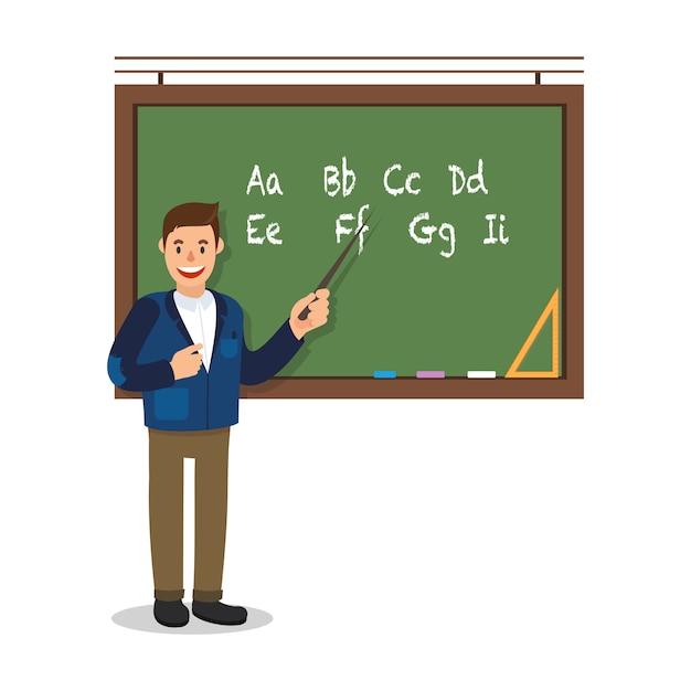 Lehrer stand in der nähe von blackboard auf weißem hintergrund. Premium Vektoren
