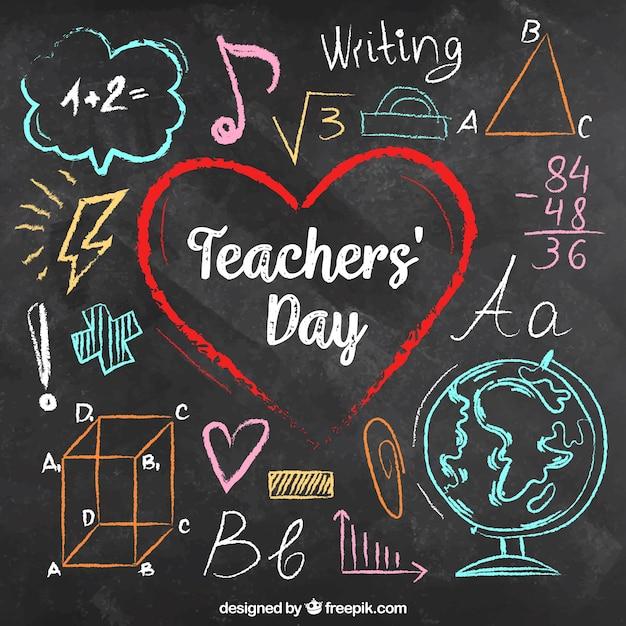 Lehrer tag auf einer tafel in bunten kreiden geschrieben Kostenlosen Vektoren