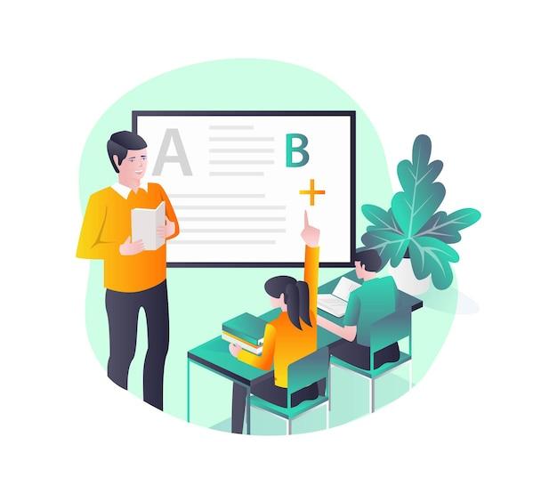 Lehrer und schüler lernen im unterricht mit tafel