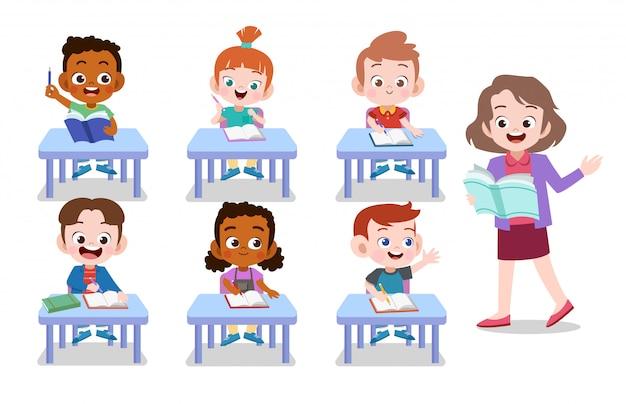 Lehrer und schüler Premium Vektoren
