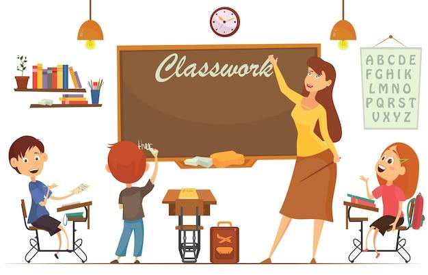 Lehrer unterrichtet schüler im klassenzimmer, welttag des buches, zurück in die schule, schreibwaren, buch, kinder, vorräte, unterrichtsfach Premium Vektoren