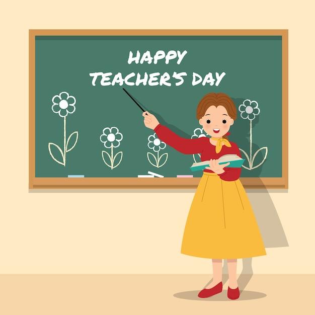 Lehrerin, die in einem klassenzimmer vor tafel mit blume verziert unterrichtet. glücklicher weltlehrertag. dankbarkeit für den lehrer. . Premium Vektoren