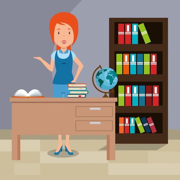 Lehrerin im klassenzimmer Kostenlosen Vektoren