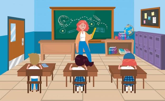 Lehrerin mit mädchen- und jungenstudenten mit büchern Kostenlosen Vektoren