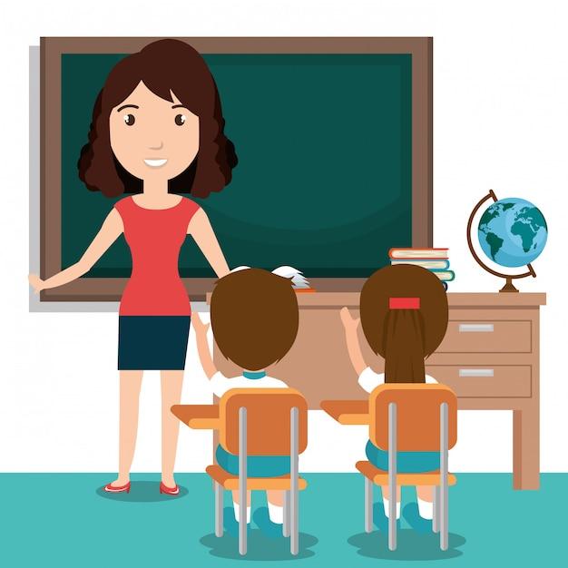 Lehrerin mit schülern im klassenzimmer Kostenlosen Vektoren