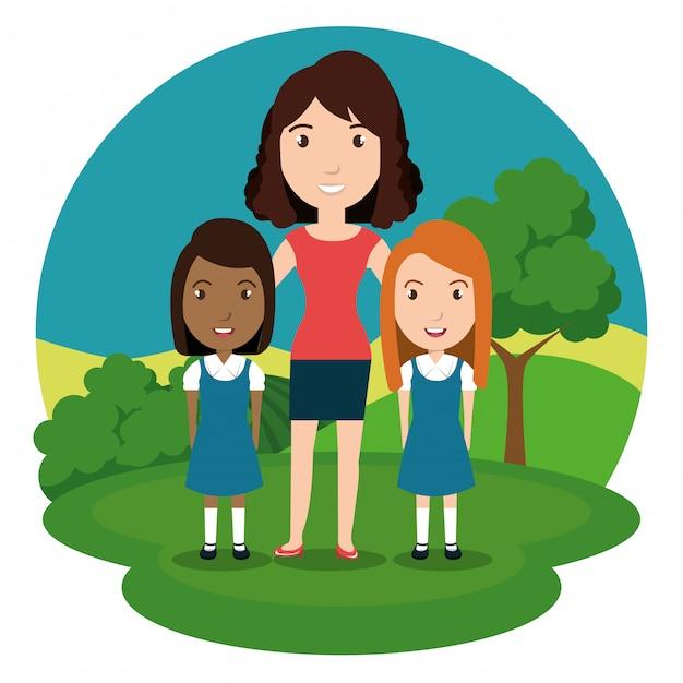 Lehrerin mit schülern im park Kostenlosen Vektoren